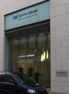 Depfa\'s entrance, near the north quays of the River Liffey