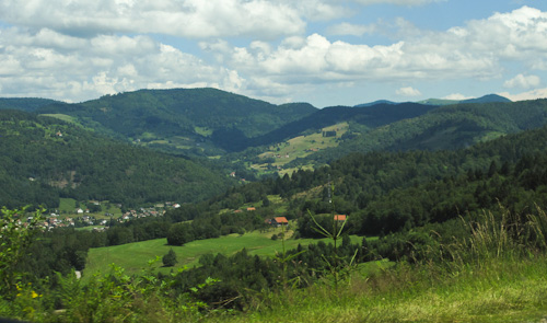 A typical Valley in the Vosges. Anita drove and I navigated using GPS and paper maps. I&#039;d marked a few ways to get to the bottom of La Planche des Belles Filles.